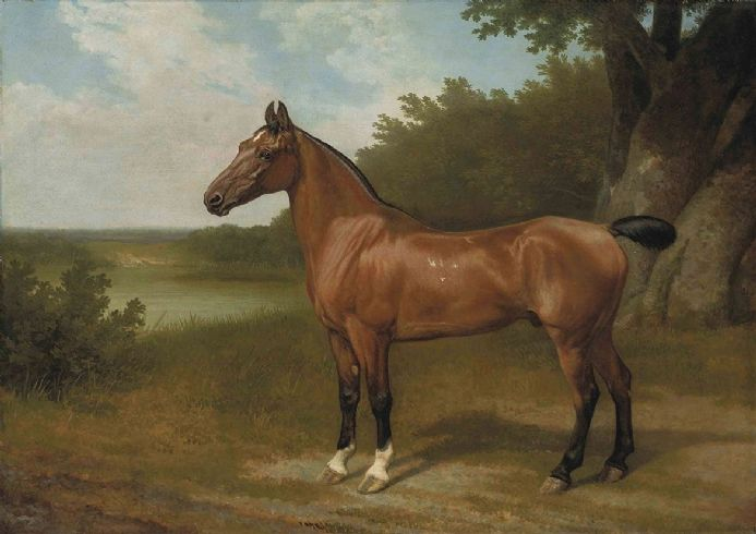 Agasse, Jacques Laurent: Lord Bingley's Hunter in a Wooded River Landscape. Fine Art Print/Poster